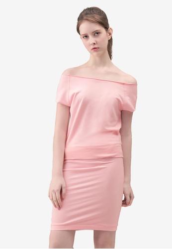 Kodz pink Wide-neck Knee Length Dress 331BAAAF9C565BGS_1
