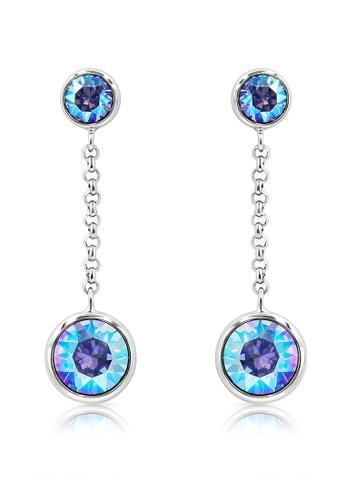 SO SEOUL blue and silver Bella Light Sapphire Shimmer Swarovski® Crystal Chain Dangle Earrings DF925ACC37CD2EGS_1