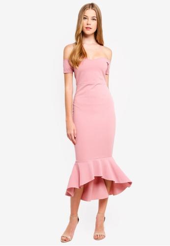 MISSGUIDED 粉紅色 露肩魚尾洋裝 604B4AA321ED8AGS_1