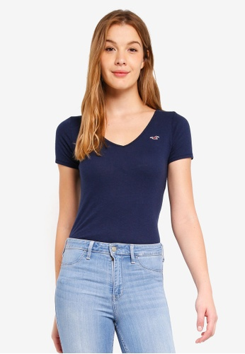 Hollister navy Slim Vee Top 07BB3AA1CA4341GS_1