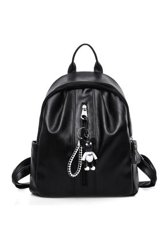 A FRENZ black Fashion Lightweight PU Backpack with Bear Pendant EDEC2AC1639D11GS_1