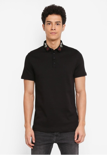 River Island black Embroidery Collar Polo Shirt D519EAA213E973GS_1