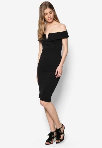 missguided v front bardot midi evening dress black
