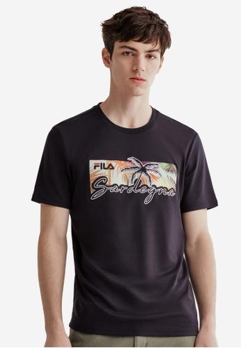 FILA navy FILA Logo Palm Tree Embroidery Cotton T-shirt 619C4AA34CEC39GS_1
