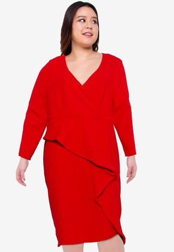 Goddiva red Plus Size Cross Over Midi Dress With Fold Over Detail 07EA8AACC0F5C1GS_1