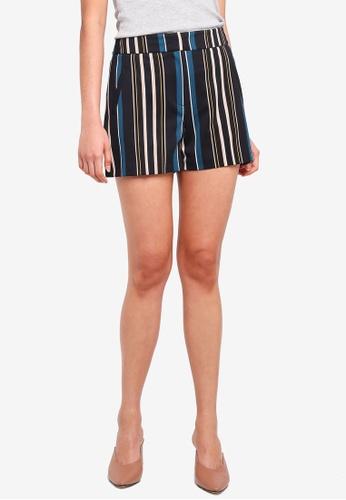 Dorothy Perkins multi Camel/Teal Stripe Shorts 88F2FAAEC2120DGS_1