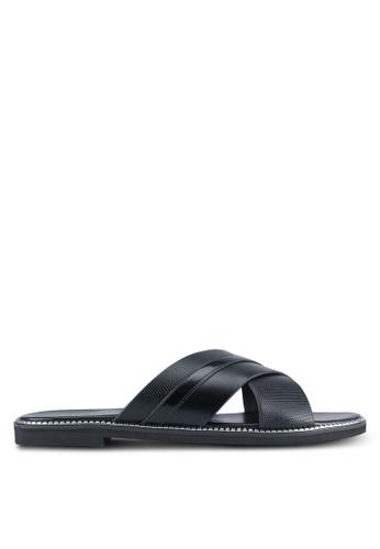 VINCCI black Cross Strap Sandals VI831SH0SY3OMY_1