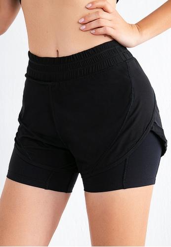 B-Code black ZUU3058-Lady Quick Drying Running Fitness Yoga Sports Shorts -Black BE56FAA86AC768GS_1