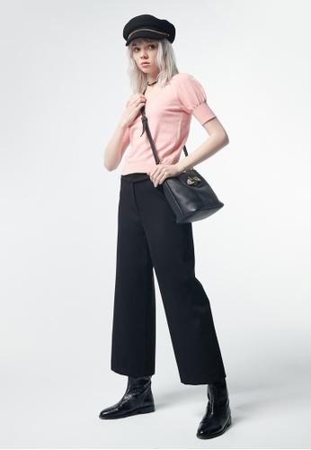 iROO black Straight Cut Trousers 118C2AAC00819FGS_1