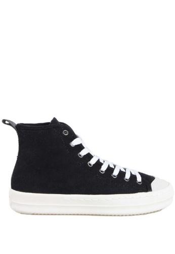 J.DAUL 黑色 經典厚底真皮高筒帆布休閒鞋 JD556SH09Q9ATW_1