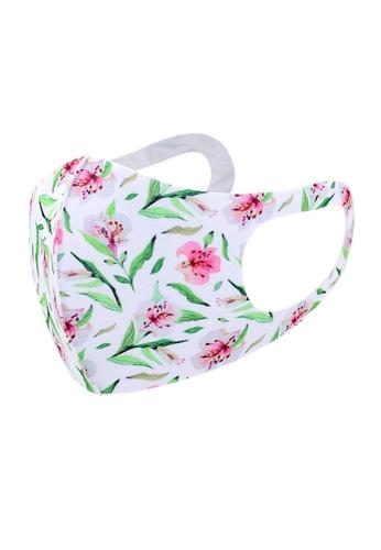 Glamorbit multi White Floral Print Reusable Washable Mask 43CEBES30A1BD6GS_1