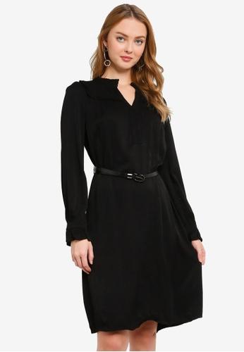 Hopeshow black V-Neck Long Sleeve Dress with Belt 7258FAA7852A3AGS_1