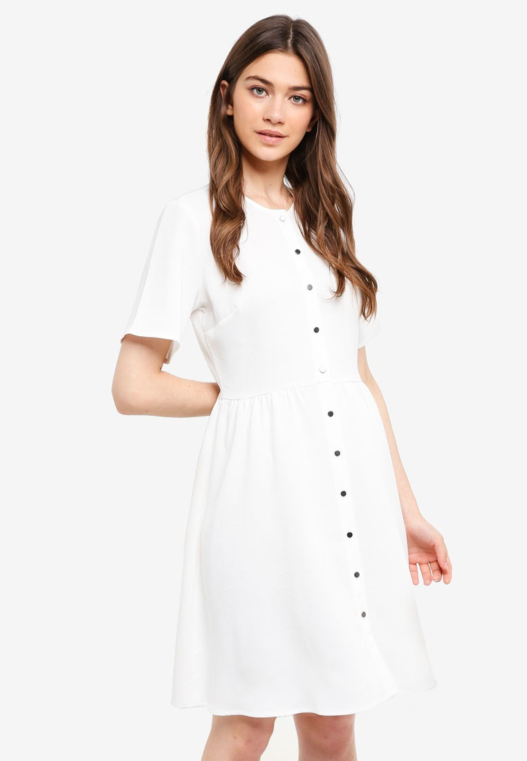 Down Off Buttoned Something Borrowed White Dress n7HHw0qZg