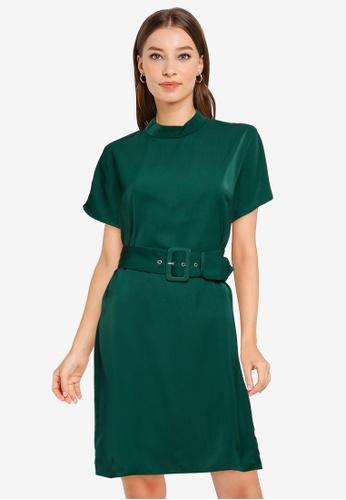 ZALORA WORK green High Neck Shift Dress 78996AA3CFA86AGS_1