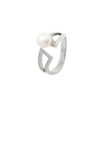 Glamorousky white 925 Sterling Silver Fashion Simple Hollow Geometric Freshwater Pearl Adjustable Ring with Cubic Zirconia 9E47BAC36FE9DAGS_1