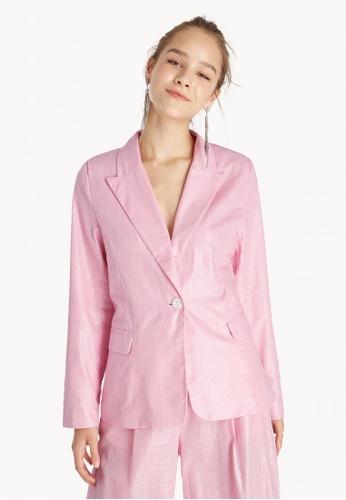 Pomelo pink Oversized One Button Blazer - Pink E0FA4AA227DCFFGS_1