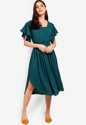 ZALORA green Ruffles Midi Dress 86812AA41CE751GS_1