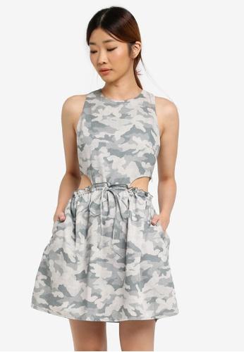 Something Borrowed green Drawstring Cut-out Dress 4A11FAA891F020GS_1