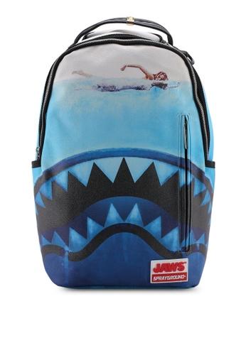 a5edd9ca54e457 Sprayground blue and multi JAWS Shark Backpack A5820ACFFFBEFBGS_1