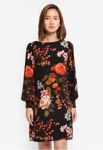Dorothy Perkins black Floral Printed Shift Dress E272FAAC1FF188GS_1