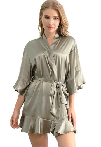 LYCKA green LCB2159-Lady One Piece Casual Robe Nightwear-Green 1DAA7USB40C62AGS_1