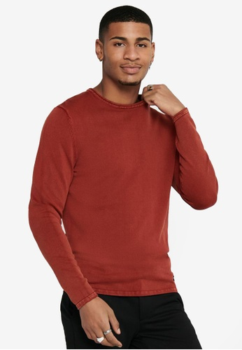 Only & Sons red Garson Life 12 Crew Knitted Sweatshirt E9573AA7331C9CGS_1