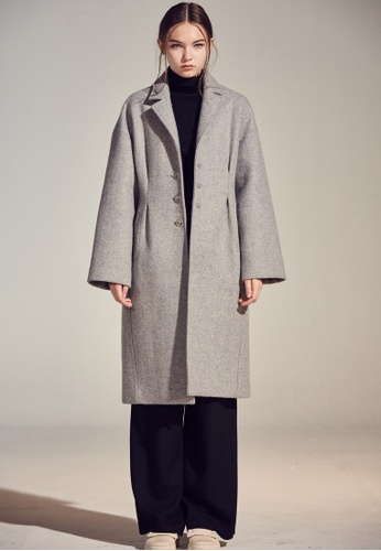 wnderkammer grey Ring Button Coat WN055AA68OFFSG_1
