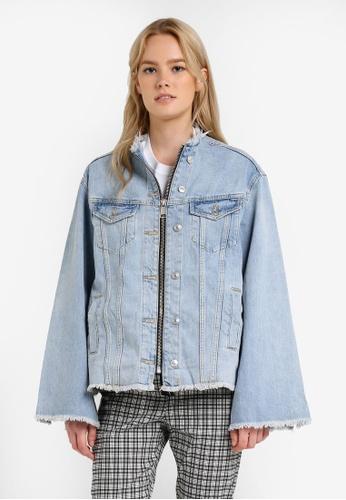 TOPSHOP blue Moto Zip Through Denim Jacket TO412AA0RJNHMY_1
