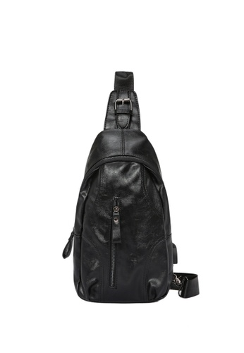 Lara black Plain Zipper Cross Body Bag - Black 560B6AC9A6EF0FGS_1