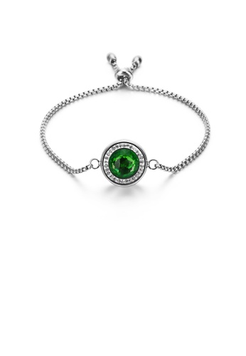 Glamorousky green Simple and Fashion Geometric Round Green Cubic Zirconia 316L Stainless Steel Bracelet 6B41EAC2C591A9GS_1
