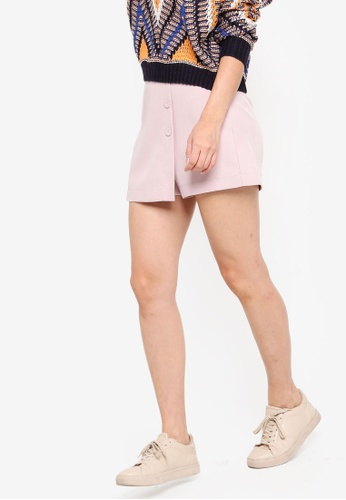 Something Borrowed pink Front Buttons Skort 99C2FAAB111A77GS_1
