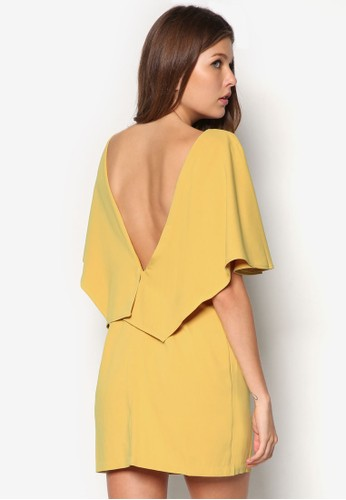 Premium 挖背層次蓋袖zalora 順豐連身裙, 服飾, 派對洋裝