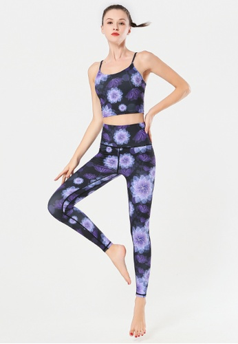 B-Code purple ZYG3092-Lady Quick Drying Running Fitness Yoga Sports Bra and Leggings Two Pieces Set -Purple 7CD01US61D34A2GS_1