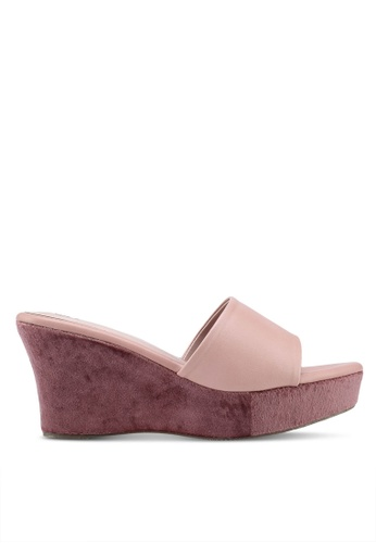 Bata 粉紅色 絲絨拼接楔型鞋 72901SHD349357GS_1