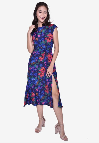 Caoros blue Midi Floral Slit Dress C65E4AA6ADC0DEGS_1