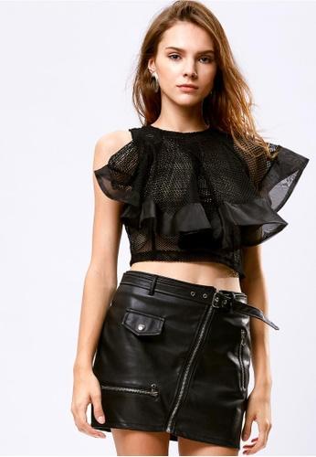 Storets black Amanda Mesh Ruffle Top ST450AA0G6J9SG_1