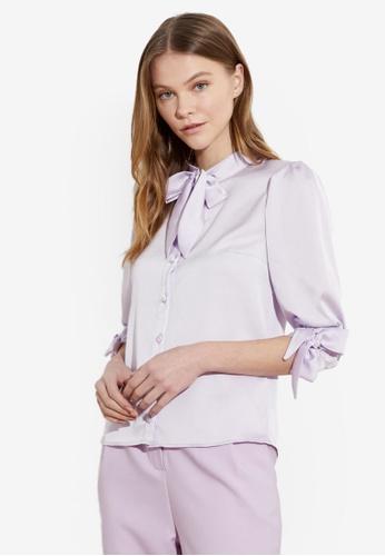Trendyol purple Tie Sash Neck Detail Blouse D31FDAA51A9A3DGS_1