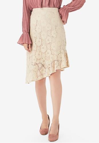 Yoco beige Lace Slanted Hem Skirt 084ADAA577736BGS_1