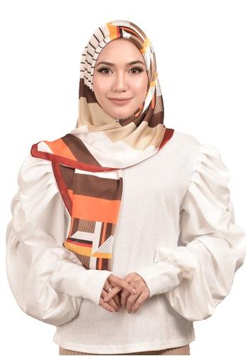 FATIMÉ multi Satin Square Hijab Block (Red) ED76DAA85DEF5EGS_1