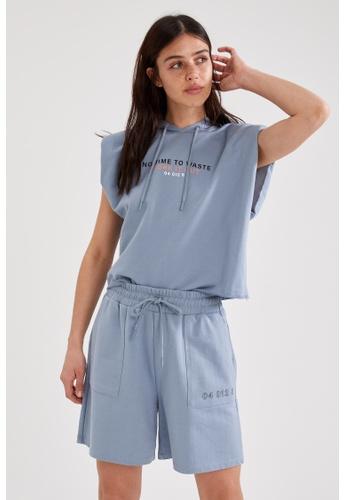 DeFacto blue Woman Athleisure Short Sleeve Knitted T-Shirt 1499DAA7E43467GS_1