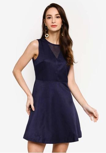 Saturday Club navy Mesh-Trimmed A-line Dress D8BAFAA0A880B9GS_1