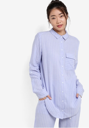 ZALORA blue Viscose Stripe Pajama Shirt 88ECBZZ09C6652GS_1