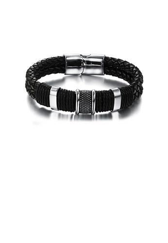 Glamorousky silver Fashion Simple Geometric 316L Stainless Steel Leather Bracelet 315F3AC298DE40GS_1