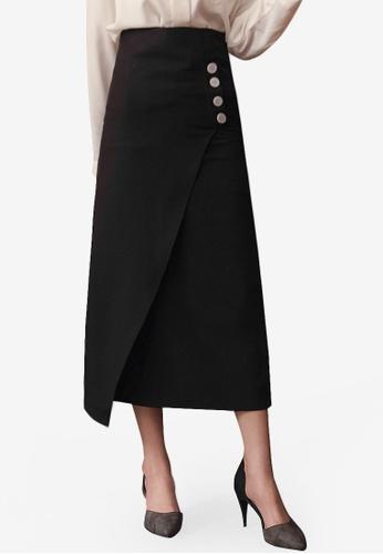 Kodz black Button Detail Midi Pencil Skirt E1DD3AA21C995FGS_1