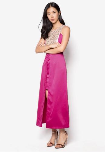 亮片拼接開叉長洋裝, esprit hk store服飾, 洋裝