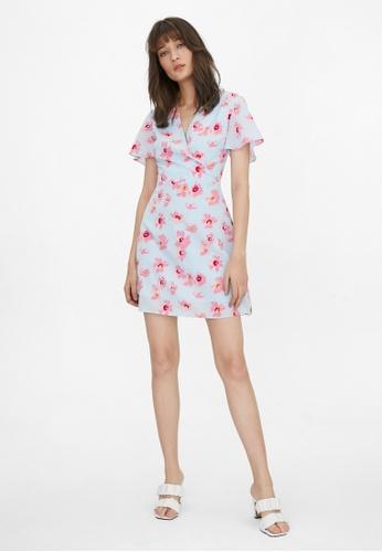 Pomelo blue Mini Orchid Print Wrap Dress - Blue 2046FAAD5C2FA6GS_1