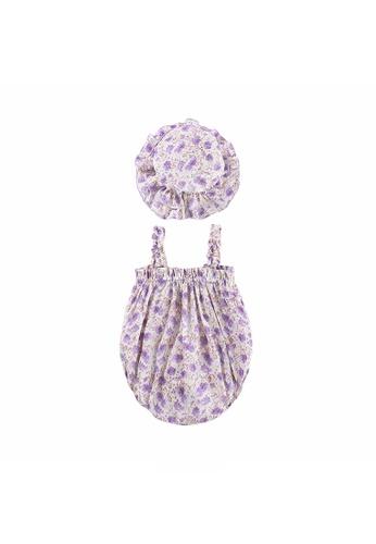 Little Kooma purple Baby Girl Ruffled Hem Floral Camisole Romper n Hat 2pc Set Purple E7AF4KA8A4998AGS_1