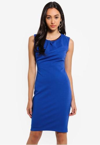 Goddiva blue Neck Pleated Midi Dress 447F0AAC82DA74GS_1