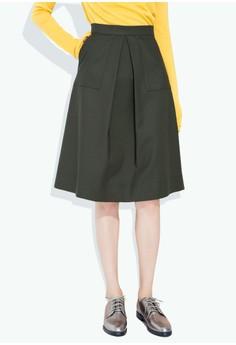 Pleated Peekaboo Midi Skirt