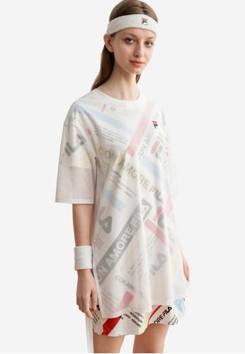 FILA white All Over FILA Theme Printed Mesh Layered Dress D70F2AABC0EB3CGS_1